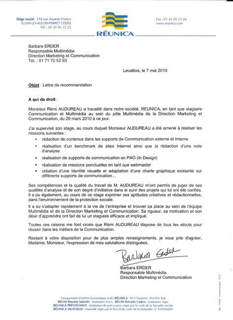 Lettre De Référence Entreprise Lettre De Recommandation Barbara Erder R 233 Unica Cv R 233 Mi Audureau