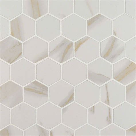 1 white matte hexagon floor tiles calacatta 2 in x 2 in hexagon matte porcelain mosaic tile
