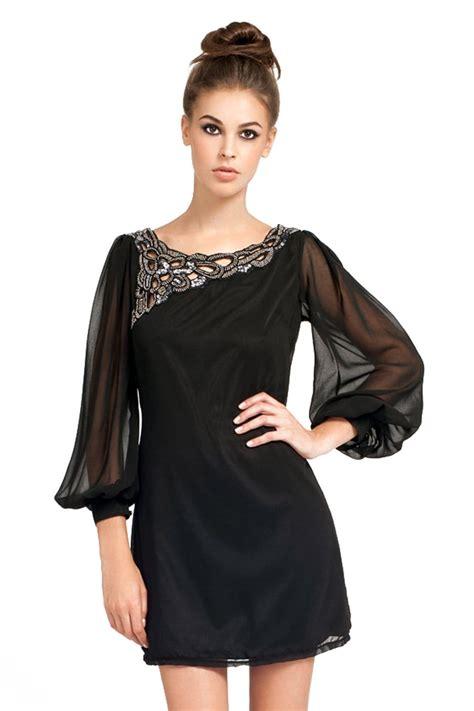 Swing Chiffon Dress black embellished neckline chiffon swing dress