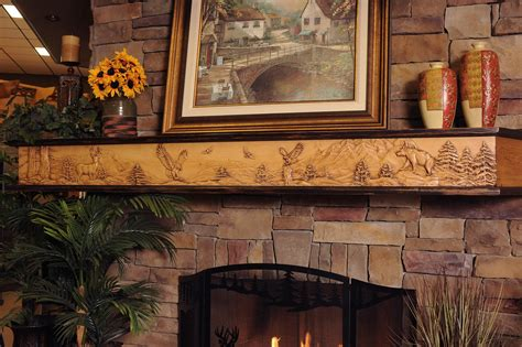 Brown Glass Mosaic Fireplace With White Wooden Fireplace