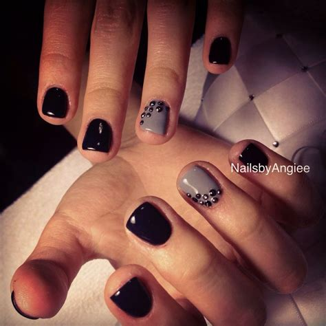 best color for super short nails super short nail design with black and gray gel colors