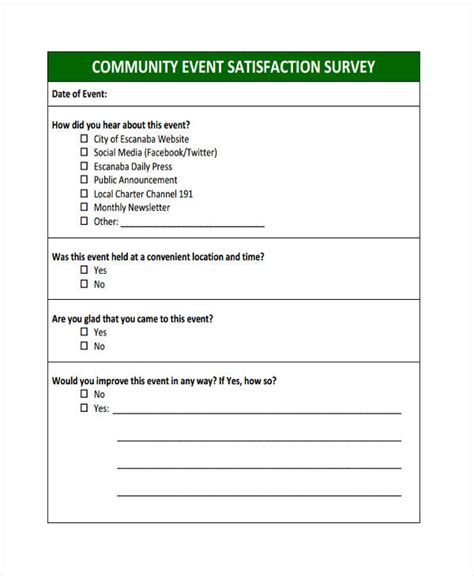 Sle Event Forms 38 Free Documents In Word Pdf Community Survey Template