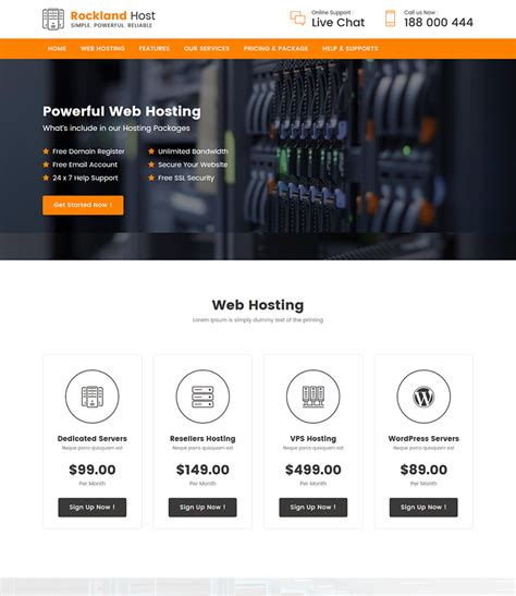 Rockland Host Hosting Domain Company Landing Page Template Bootstrap Domain Landing Page Template