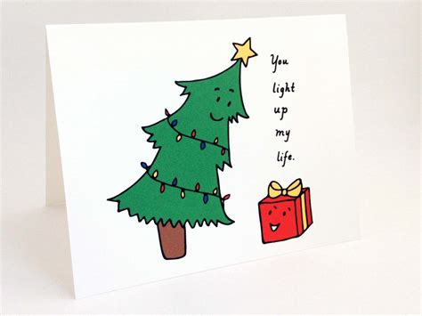 christmas tree puns card punny card whimsical