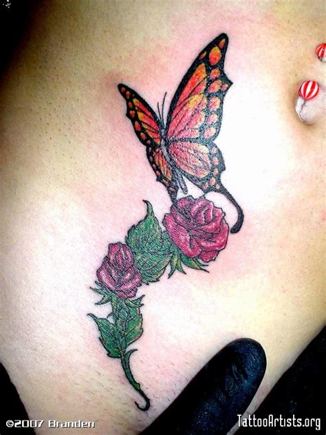rose and butterfly tattoos butterfly tattoos and designs page 318