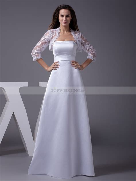 wedding dress with strapless a line satin wedding gown with lace bolero