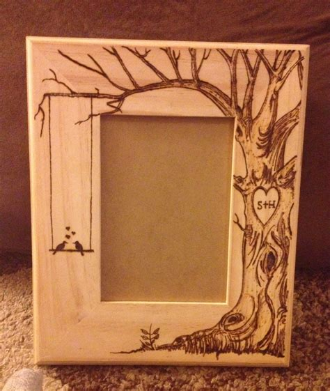 picture frame designs woodworking wood burned picture frame do custom orders lovebirds
