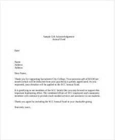 Acknowledgement Letter For Gift In Sle Gift Letters 41 Exles In Pdf Word