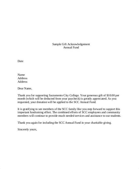 non profit acknowledgement letter requirements sle gift letters 41 exles in pdf word