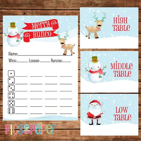 printable christmas bunco cards christmas bunco score card with reindeer snowman and