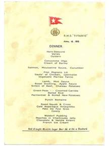 titanic breakfast menu titanic s last dinner menu dated april 14 1912 titanic