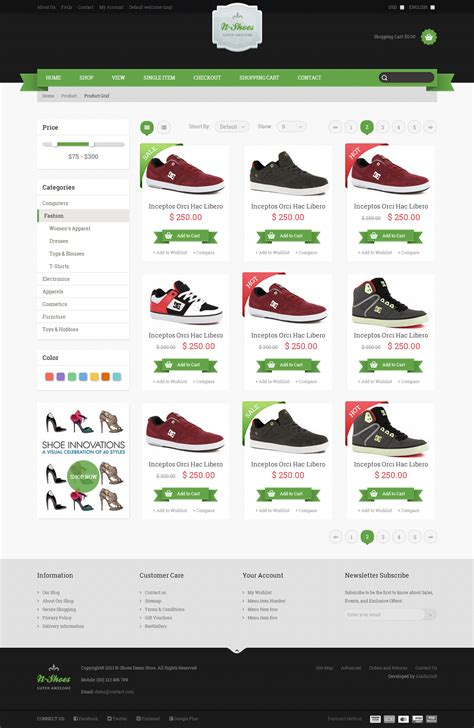 store template html5 n shoes premium responsive html5 store template by