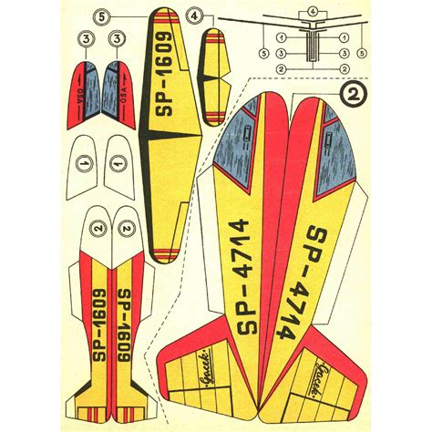 How To Make Paper Models - 6x vintage paper model planes printable sheets print