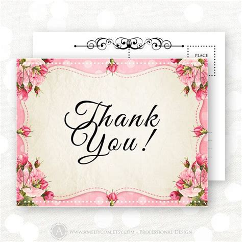 free printable thank you cards vintage printable thank you card pink shabby chic flowers