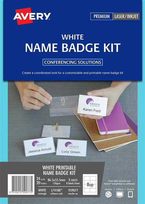 convention name card inserts template card name badges 959077 avery australia