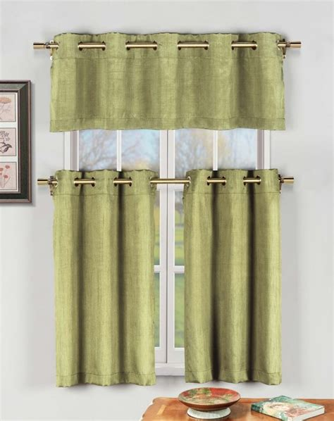 silver kitchen curtains sage green 3 pc kitchen window curtain set with silver