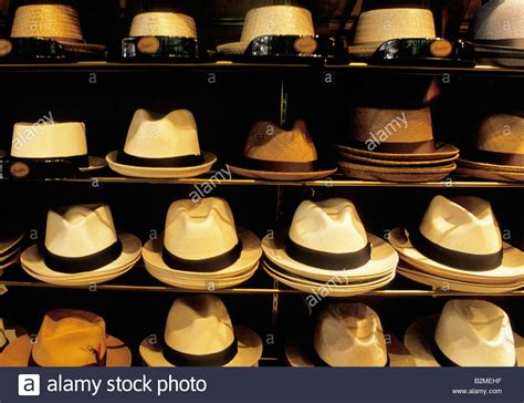 new york city straw hats in hat store usa stock photo