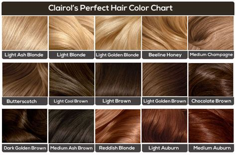 chart of haircolors hairstyle clairol hair color chart medium hair styles ideas 44948