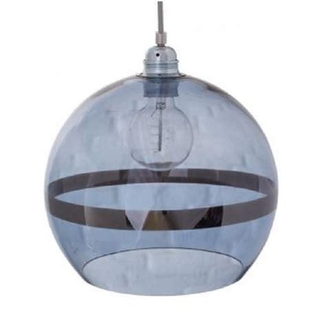blue glass globe ceiling pendant light with metallic stripe