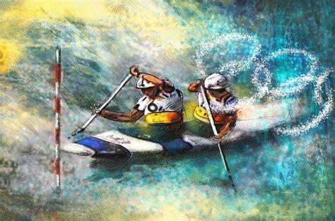 Duvet Cover Modern Olympics Canoe Slalom 01 Painting By Miki De Goodaboom