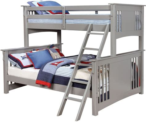 spring creek gray twin xl over queen bunk bed cm bk604gy furniture of america