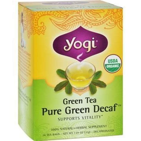 yogi organic green tea caffeine free 16 tea bags case