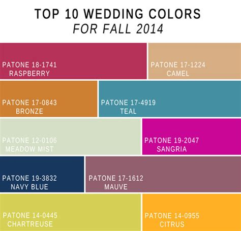 fall color schemes fabulous 10 wedding color scheme ideas for fall 2014 trends
