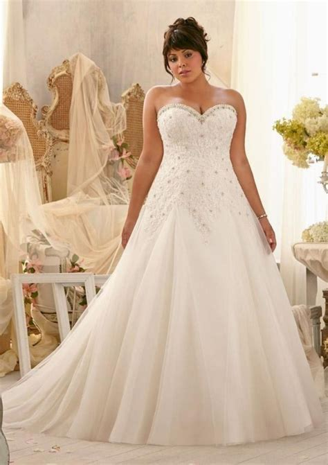 in stock applique lace and tulle bandage plus size wedding