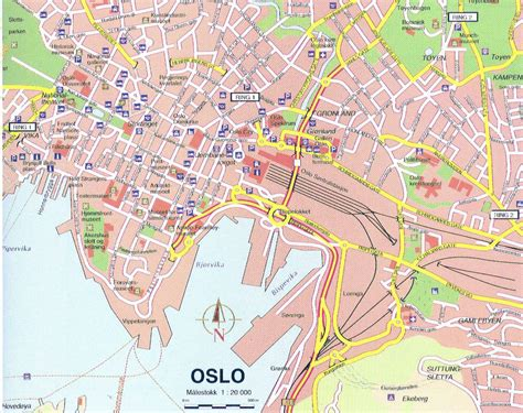 map of city large detailed map of oslo city center oslo city center