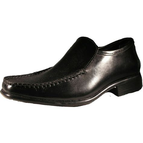 academy boys black leather slip on shoe academy