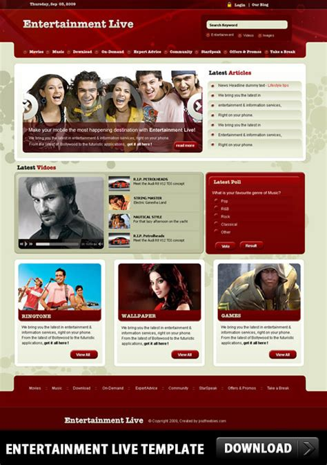 entertainment template psd free psd resources for designers