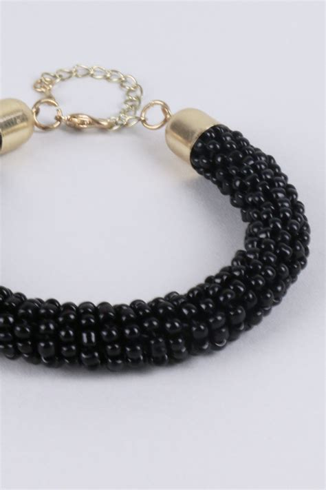 how to put a clasp on a beaded necklace lovemystyle black beaded bracelet with gold clasp