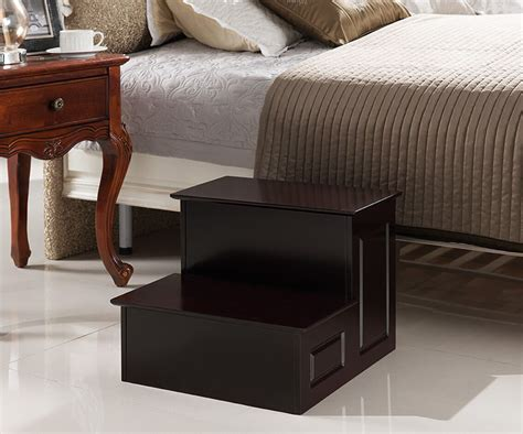 Cherry Wood Bed Step Stool by R1126 Series Brand Large Wood Bedroom Step Stool