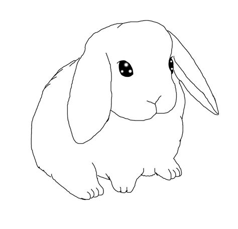 rabbit head coloring page lop eared bunny lineart by thistleflight on deviantart