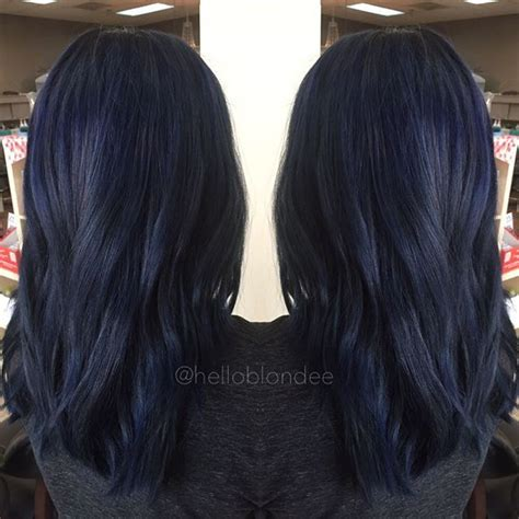 hair color black or midnight blue with subtle highlights or ombre brown blonde platinum grey 25 midnight blue hair ideas that will inspire your next