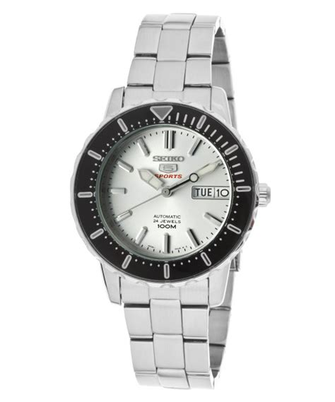 Seiko 5 Snkk59k1 Silver Black seiko womens 5 sports automatic silver stainless steel srp237 in black silver lyst