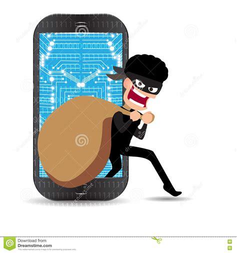cartoon thief stealing money bag from smartphone cartoon