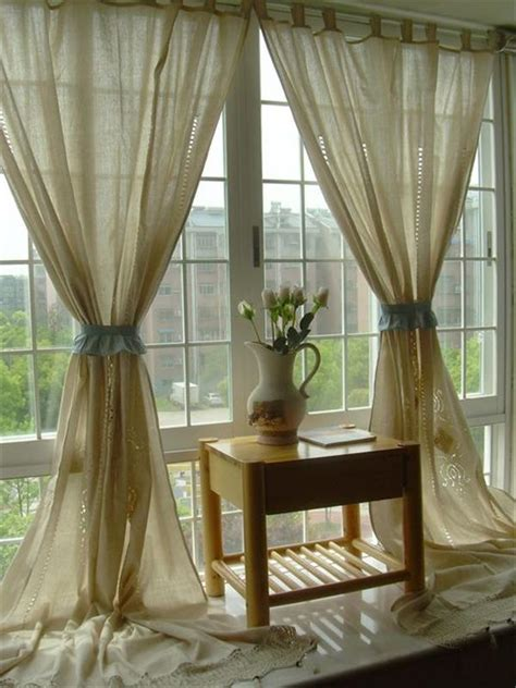 linen lace curtains new tab top hand embroidered hollow out cotton linen