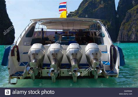 fast boat in thailand speed boat on maya beach ko phi phi island phuket