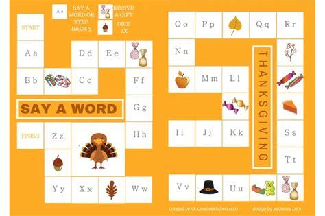printable kitchen games thanksgiving alphabet board game free printable