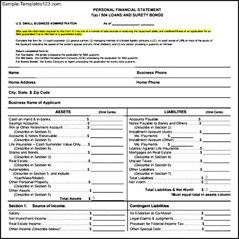 Financial Statement Form Template sle pdf business financial statement form sle