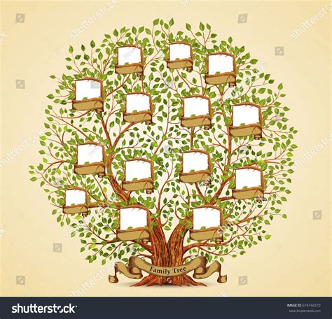 Family Tree Template Vintage Vector Illustration Stock Vector 674744272 Shutterstock Family Tree Template Vintage Vector Illustration Stock Vector 674744272