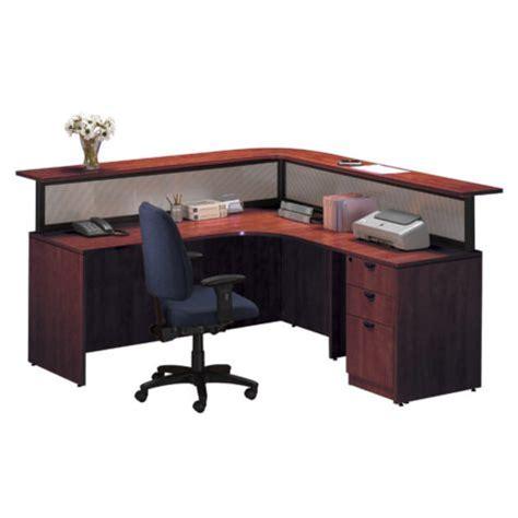 cherry reception l desk w right return by harmony