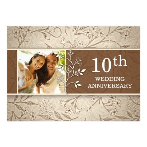 Wedding Anniversary 10th by 10th Wedding Anniversary Photo Invitations Zazzle