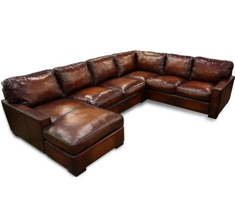Napa Maxwell Oversized Seating Leather Sectional Large Leather Sectional Sofas