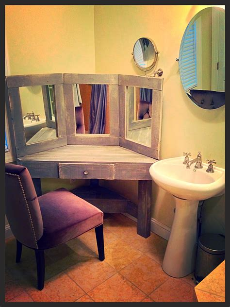 vanity desk with mirror diy pallet wood distressed gray corner makeup vanity with
