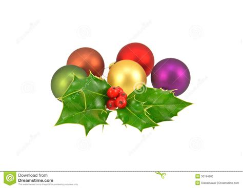 baubles and holly stock photo image 30184680