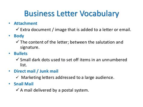 business letter vocabulary business communication
