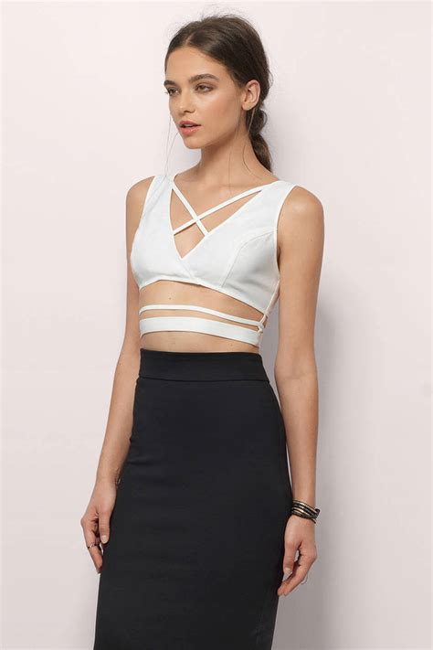 Cross Crop Top N3739 ivory crop top white top criss cross top 36 00