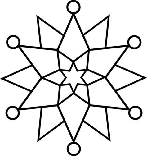 Easy Snowflake Outline by Snowflake Line Free Clip